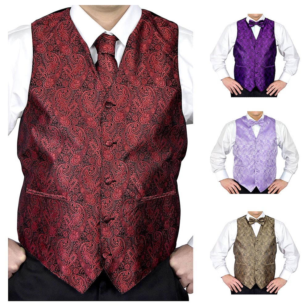 Moda Di Raza- 4 Pc Mens Paisley Tuxedo Dress Suit | Vest | Hanky | Tie | Bow-Tie