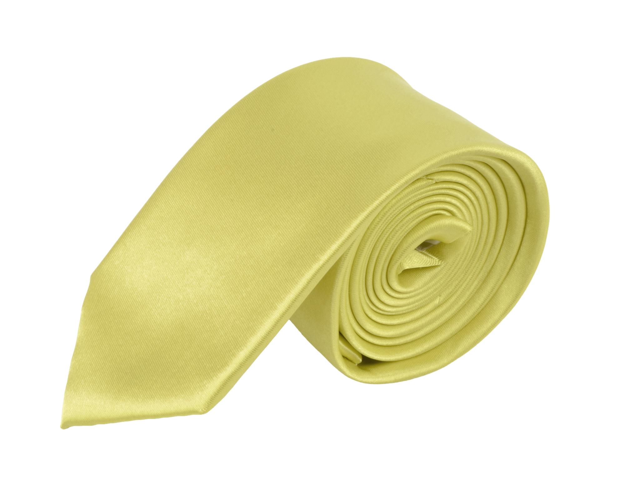 Moda Di Raza - Men's / Boy's Slim Polyester Tie  - Neckwear - Skinny Tie by Moda Di Raza - LightYellow One Size