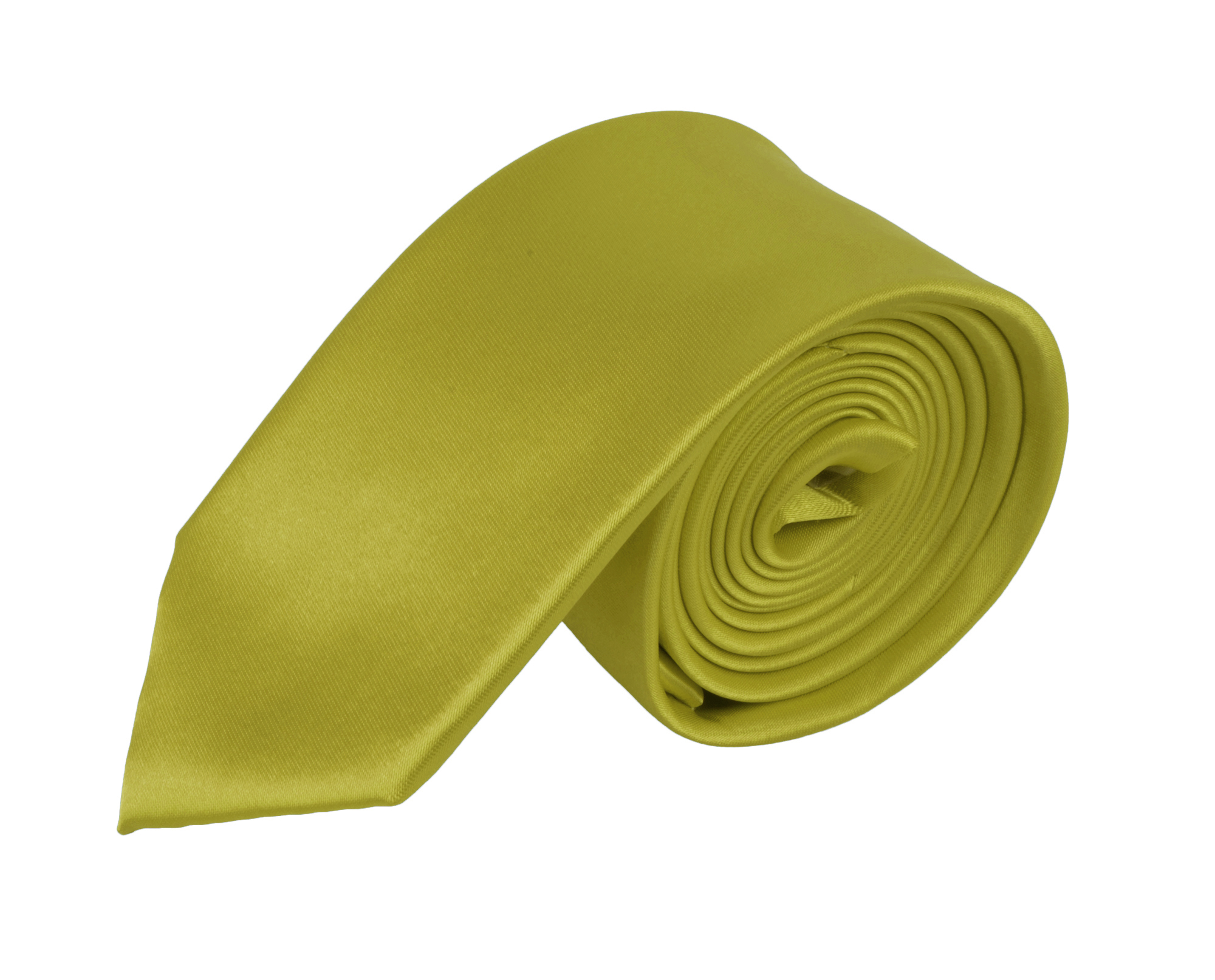 Moda Di Raza - Men's / Boy's Slim Polyester Tie  - Neckwear - Skinny Tie by Moda Di Raza - Mustard One Size