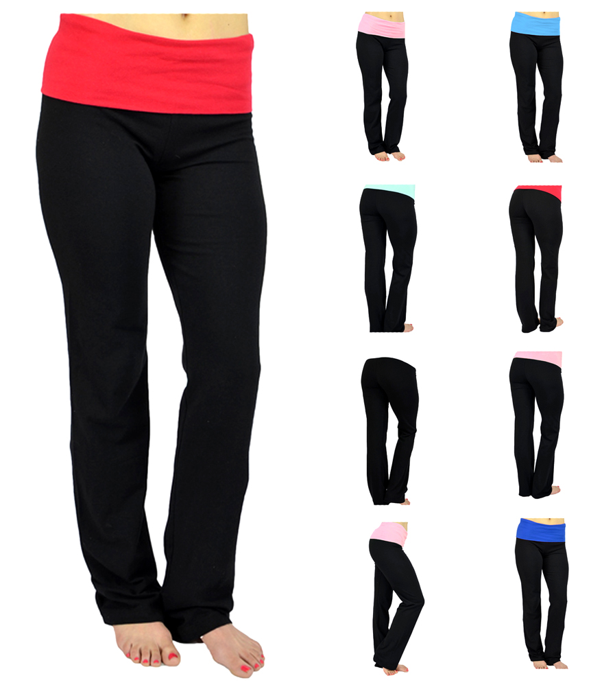 Belle Donne-Womens Girls Workout Fexible Fold Over Cotton Yoga Pants