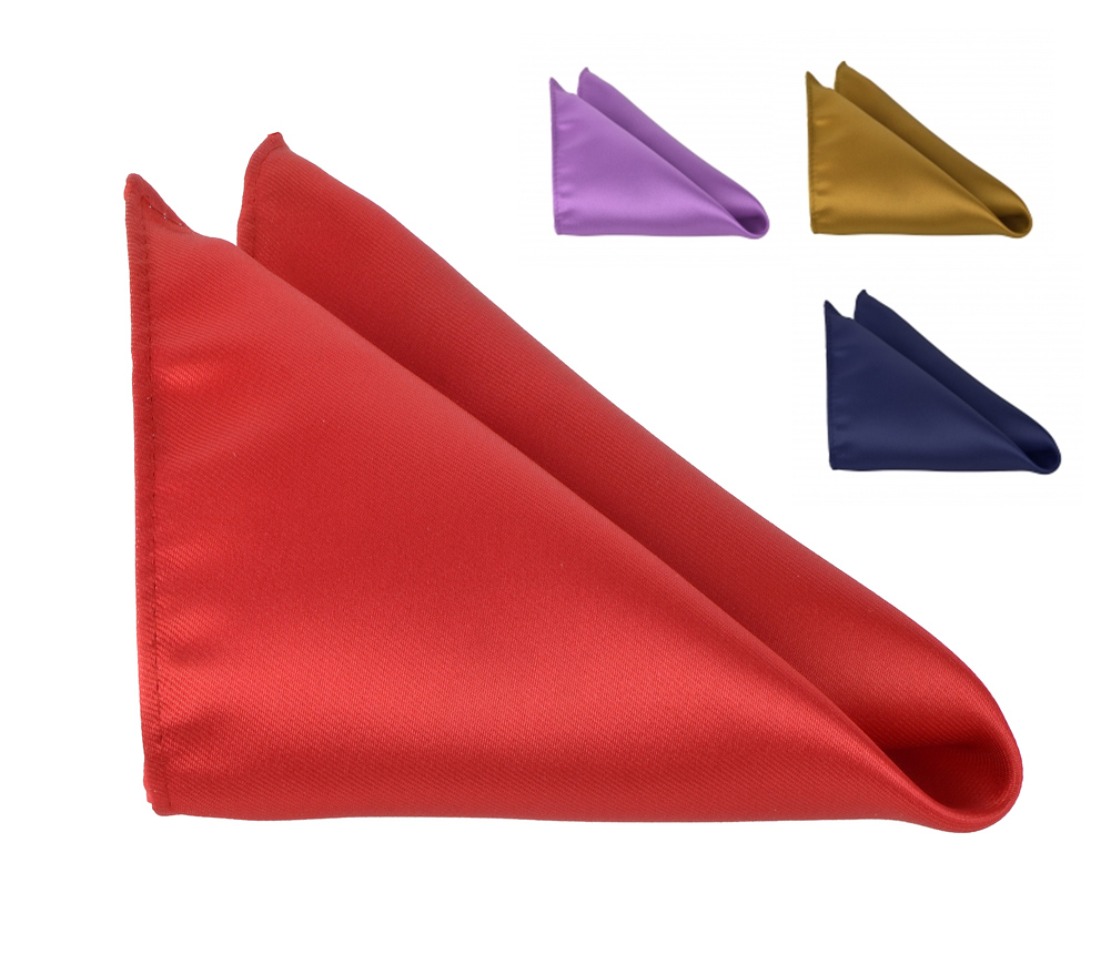 Pocket Square For Men 10 x 10 Hanky Satin Handkerchiefs Solid Color Moda Di Raza