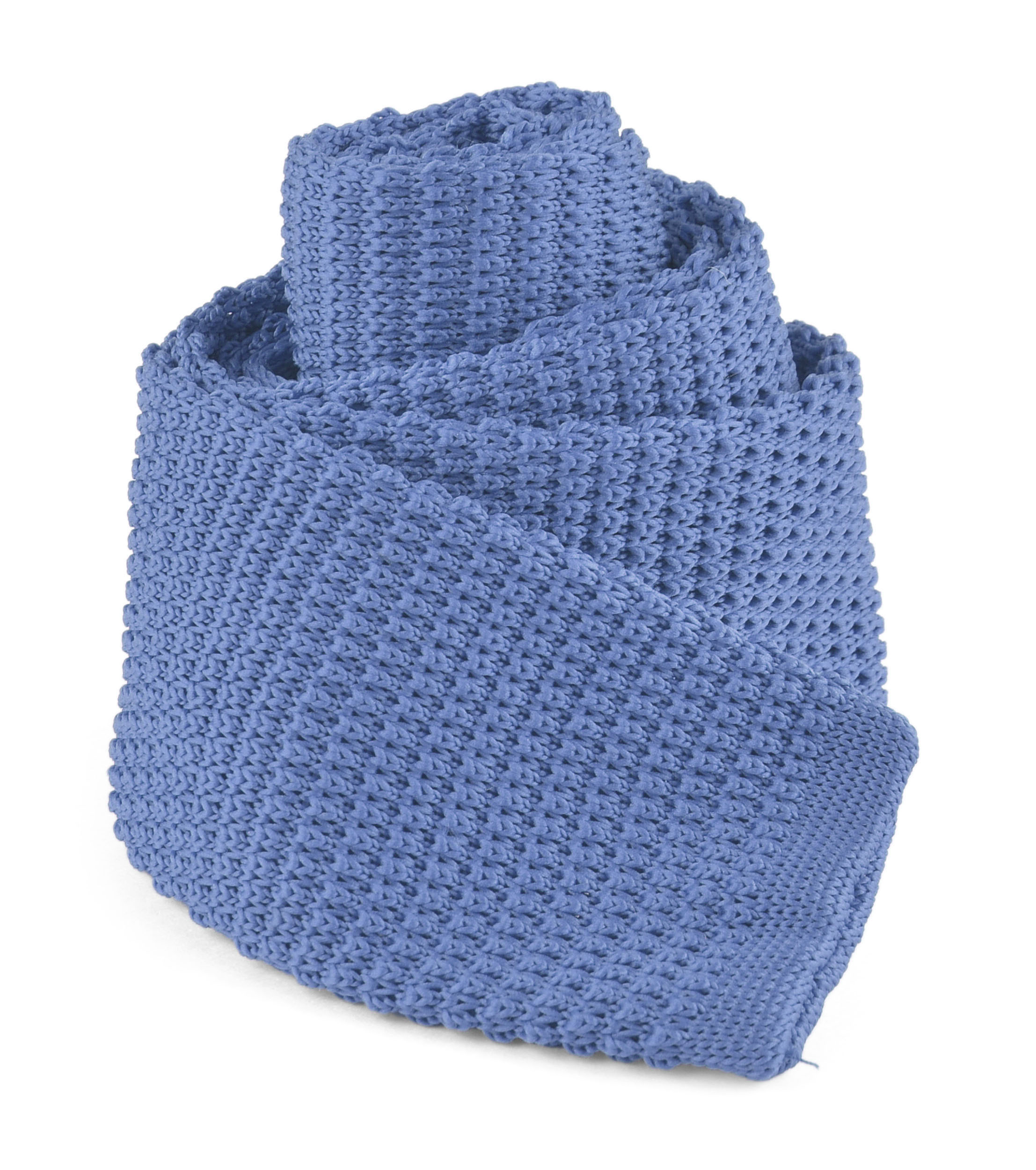 "Moda Di Raza - Mens Casual Solid Color Waffle Knit Woven Square End Neck Tie - 2.25"" - Ocean Blue"