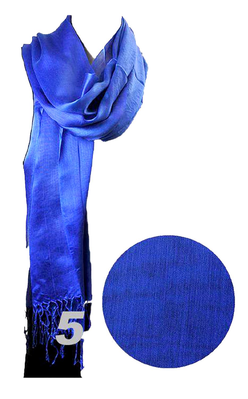 Belle Donne - Viscose Fiber Scarves Solid Color Fringe End Scarf Women-RoyalBlue