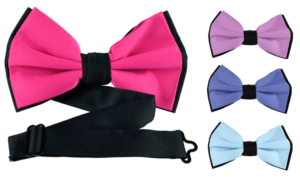 Moda Di Raza - Mens Formal Two Tone Designer Self Bow Tie Black - Various Colors