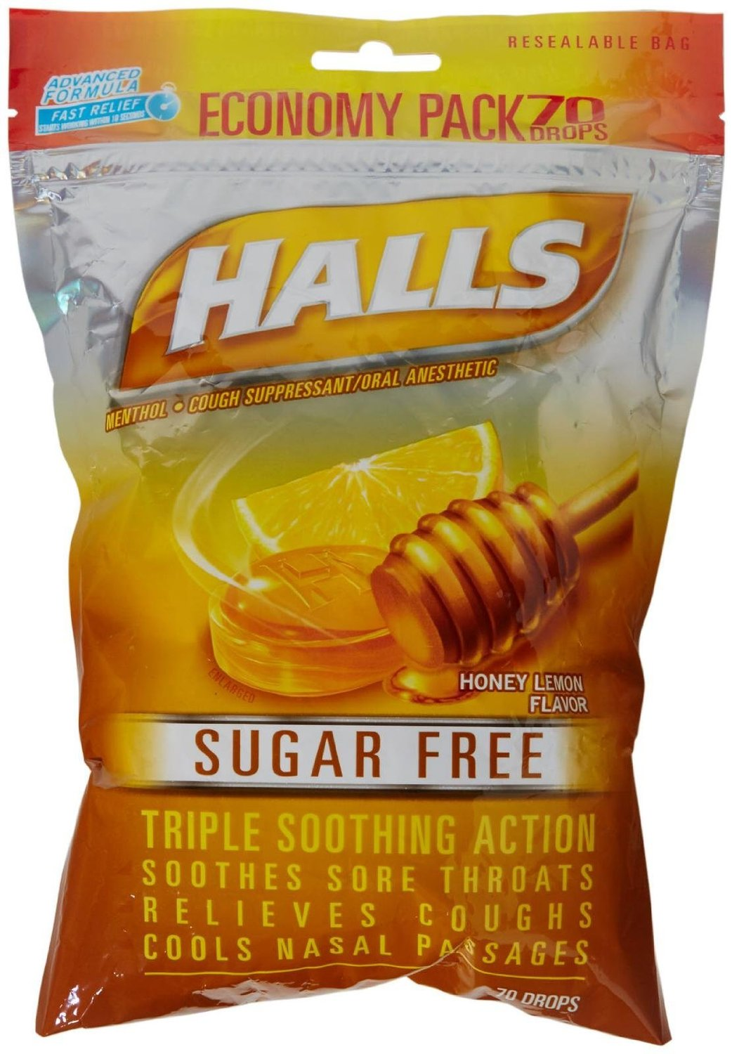 Halls Menthol Cough Suppressant Drop-Honey-Lemon, Sugar Free-70 pc