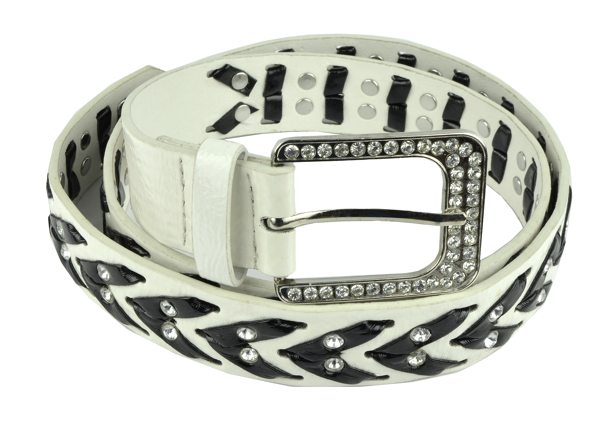 Womens Rhinestone Belts - Western Cowgirl Belt with Bling Buckles by Belle Donne - White