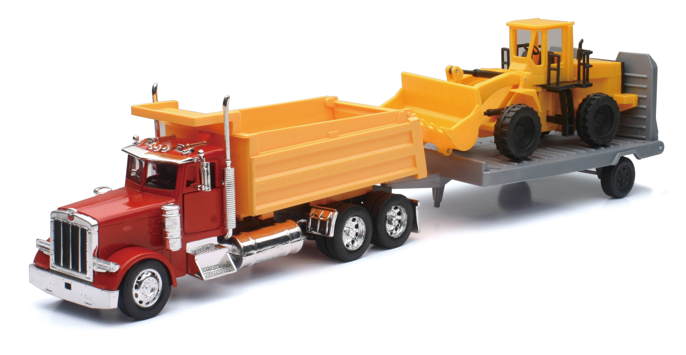 Peterbilt Dump Truck with Wheel Loader and Flatbed Trailer