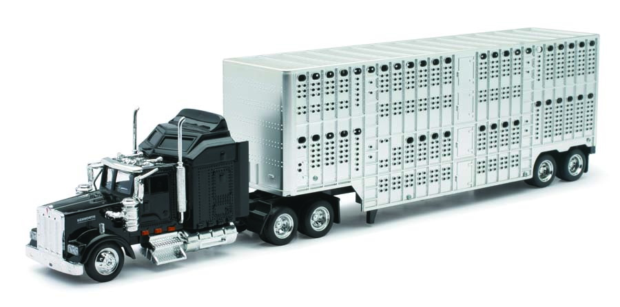 New-Ray 1/43 D/C Kenworth W900 Pot Belly Livestock Trailer