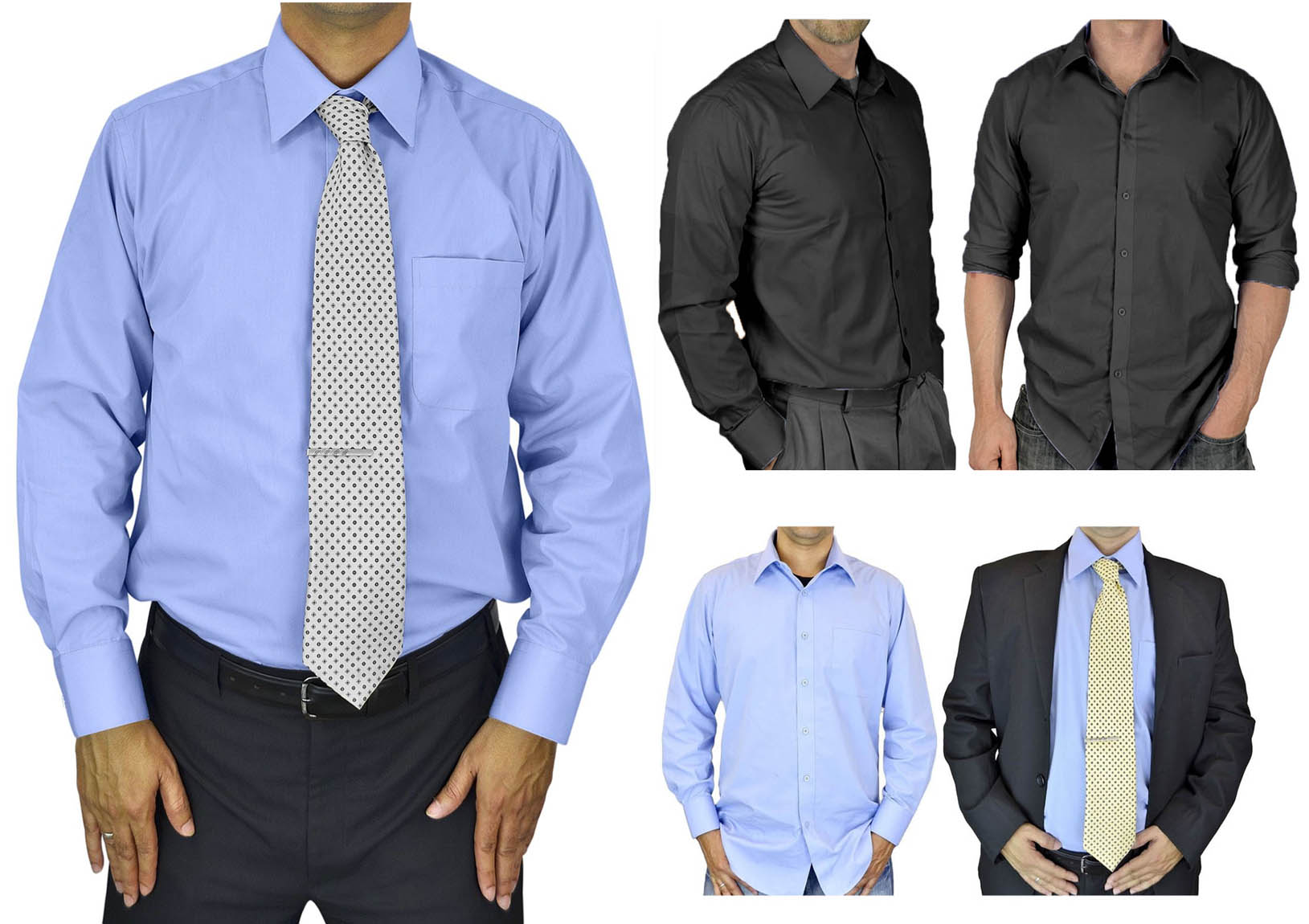 Mens Dress Shirt Slim and Regular Fit Office Casual French Cuff Moda Di Raza
