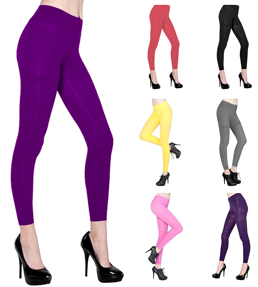Belle Donne - Women's Footless Leggings Basic Fashion Casuals Solid Color Tights