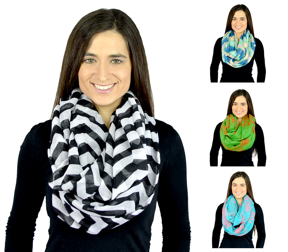 Belle Donne - Womens Mens Infinity Loop Scarves Beautiful Fashion Pattern Prints