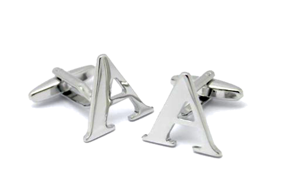 Moda Di Raza A-Z Letter Initial Cufflinks Sterling Silver Alphabet Personalized Cufflink - Silver One Size