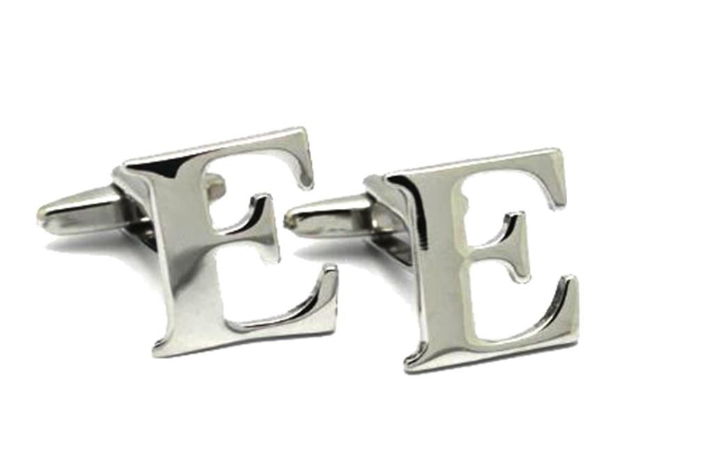 Moda Di Raza A-Z Letter Initial Cufflinks Sterling Silver Alphabet Personalized Cufflink - Silver One Size
