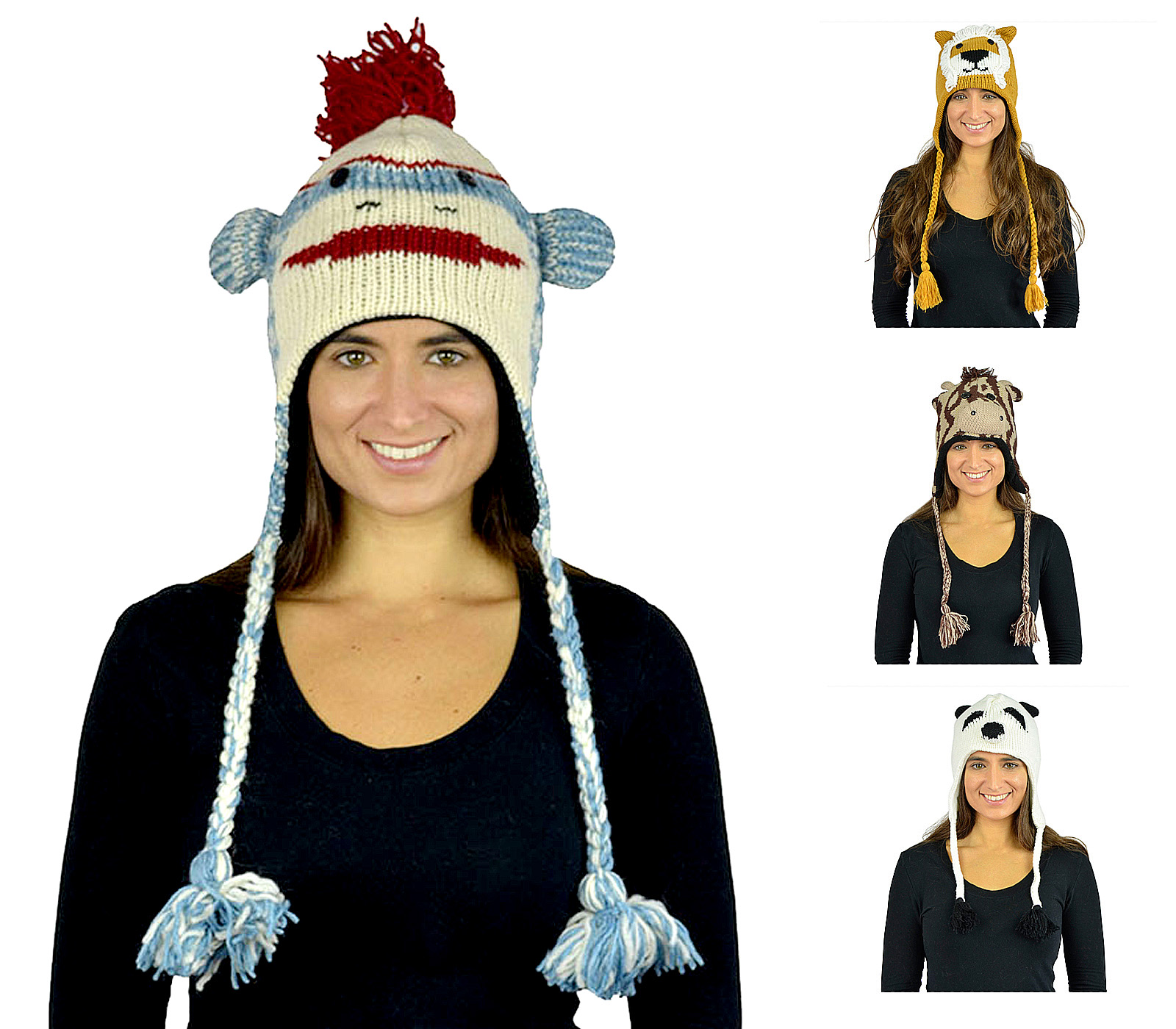 Belle Donne - Winter Hats Animal Hats With Mitten or Pom Pom Knit or Plush