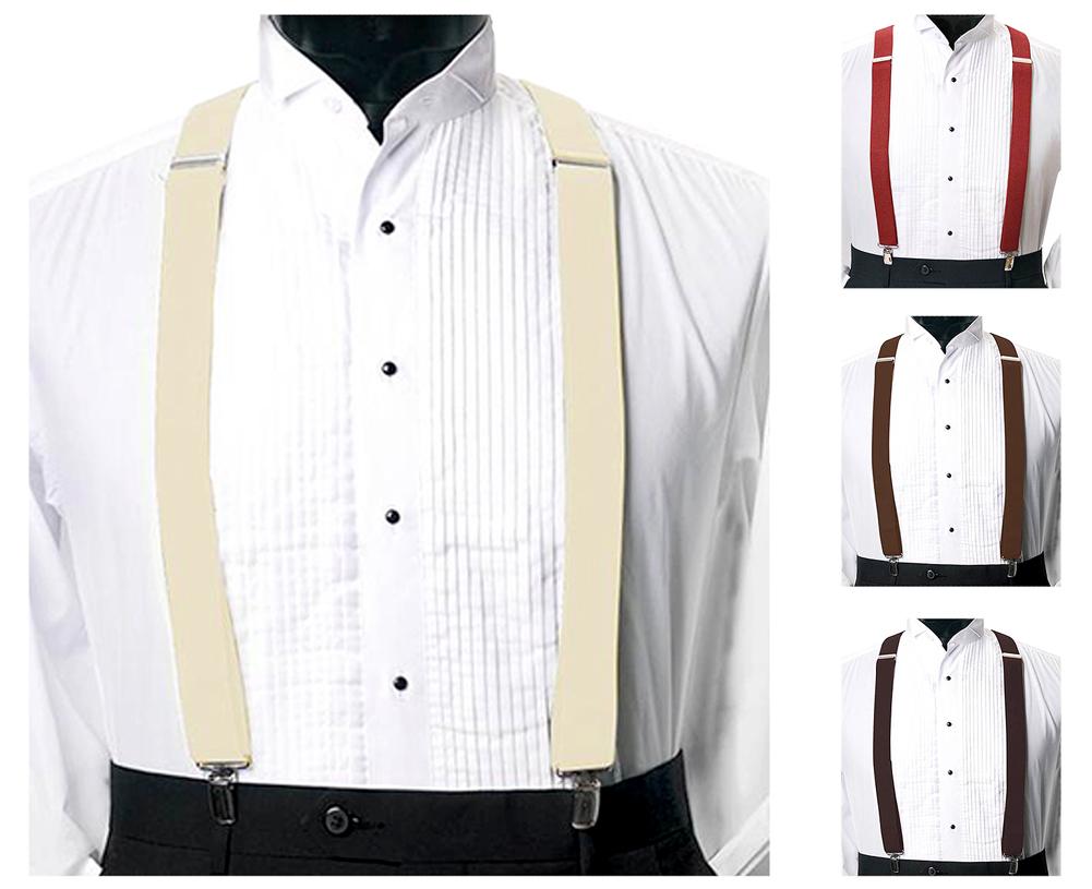Moda Di Raza Men's Umo Venetto 1.5 Inch X Style 4 Clip Adjustable Elastic Suspenders