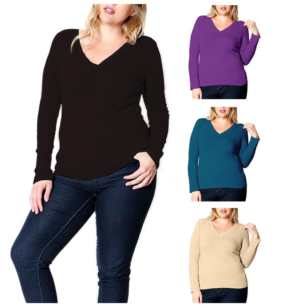 Belle Donne Plus Size T Shirt For Women V Neck Long Sleeves Casual Top