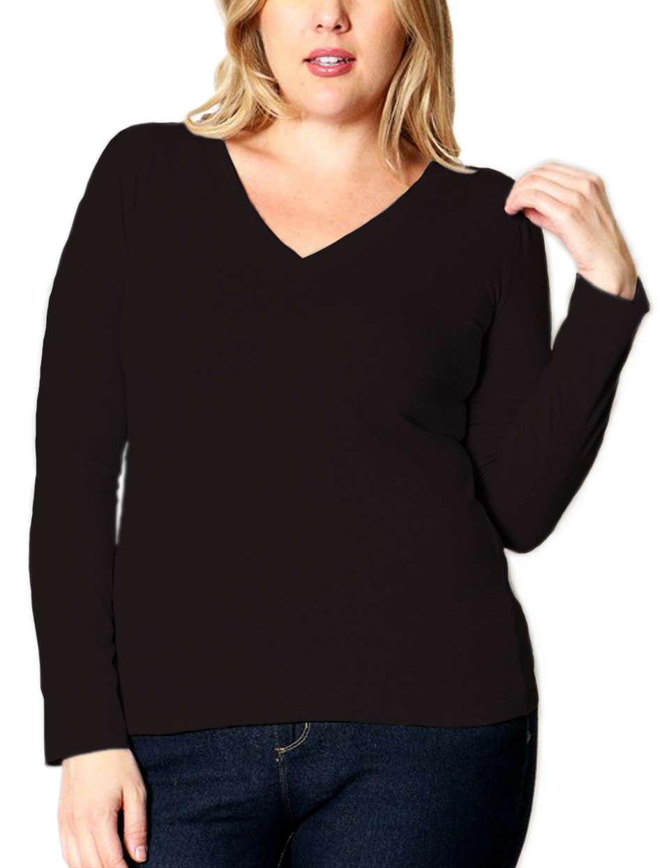 Belle Donne Plus Size T Shirt for Women V Neck Long Sleeves Casual Top - Black/X-Large