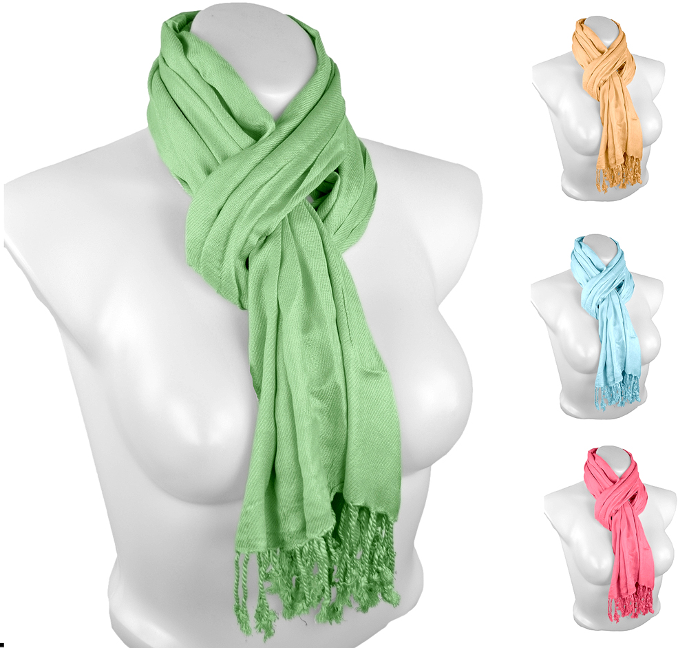 Belle Donne - Women's Pashmina Scarf Shawl Stole Wrap Solid Color Scarves