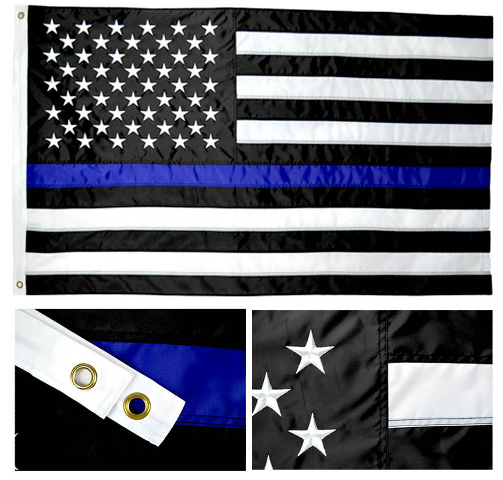 Shop72 - Flag Embroidered Stars Sewn Stripes Thin Blue Line Police Flag