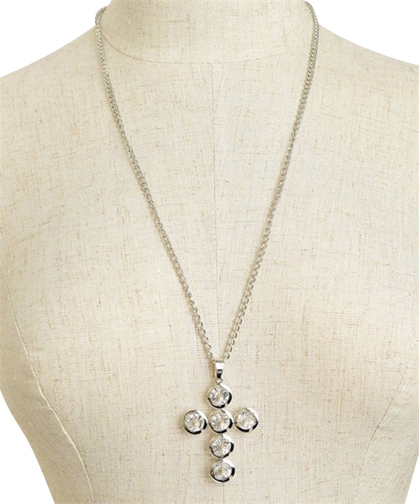 Belle Donne Necklace Long Chain Multi Stone With Cross Desgin - Silver