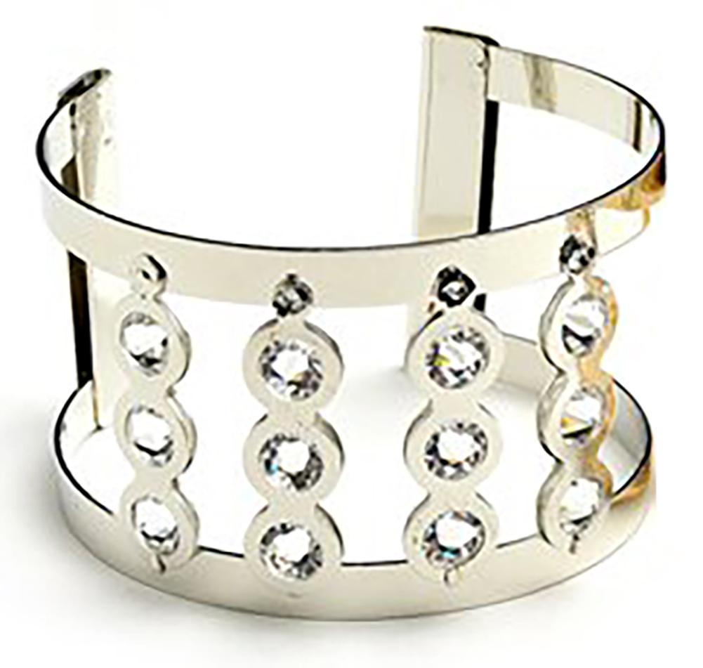Belle Donne - Womens Multi Stone Silver Wide Cuff Bracelet, Large Bracelet with Clear Crystal Studs, Multiple Rhinestones Bracelet for Women - Silver - MStone