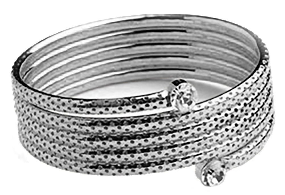 Belle Donne - Womens Bracelets - Multi Stone Imitation Diamonds Silver Spiral Design Bangle Bracelet - Multiple Rhinestones - Ladies Fashion Coil Bracelet - Silver - Coil