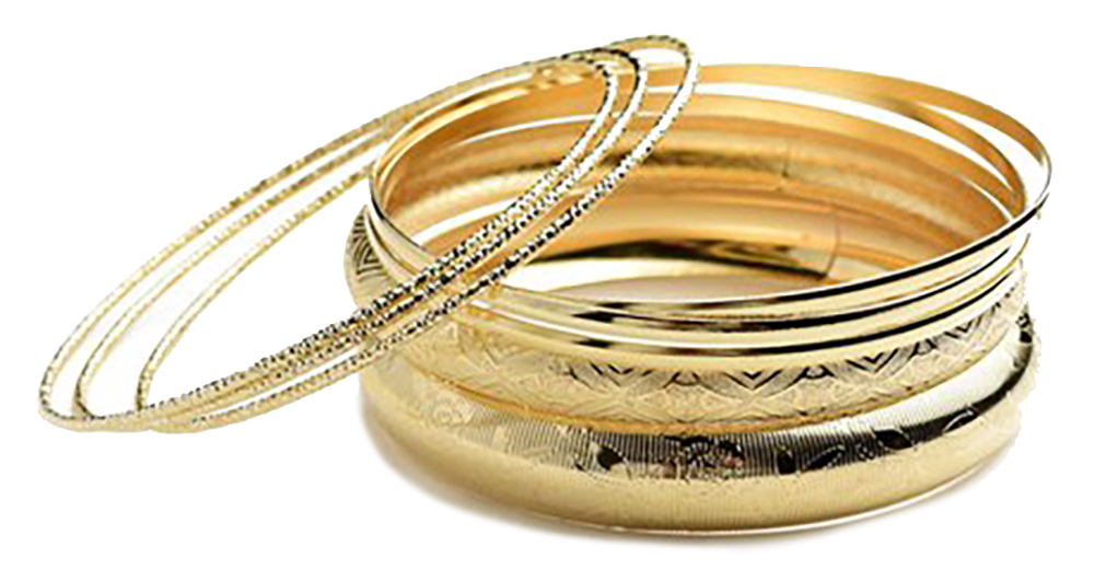 Belle Donne - Womens Multi Layer Gold Bangle Bracelet, Jewelry for Women - Artistic Design Engraved Pattern - Geometric Textured Ladies Wrist Band - Gold - Layer