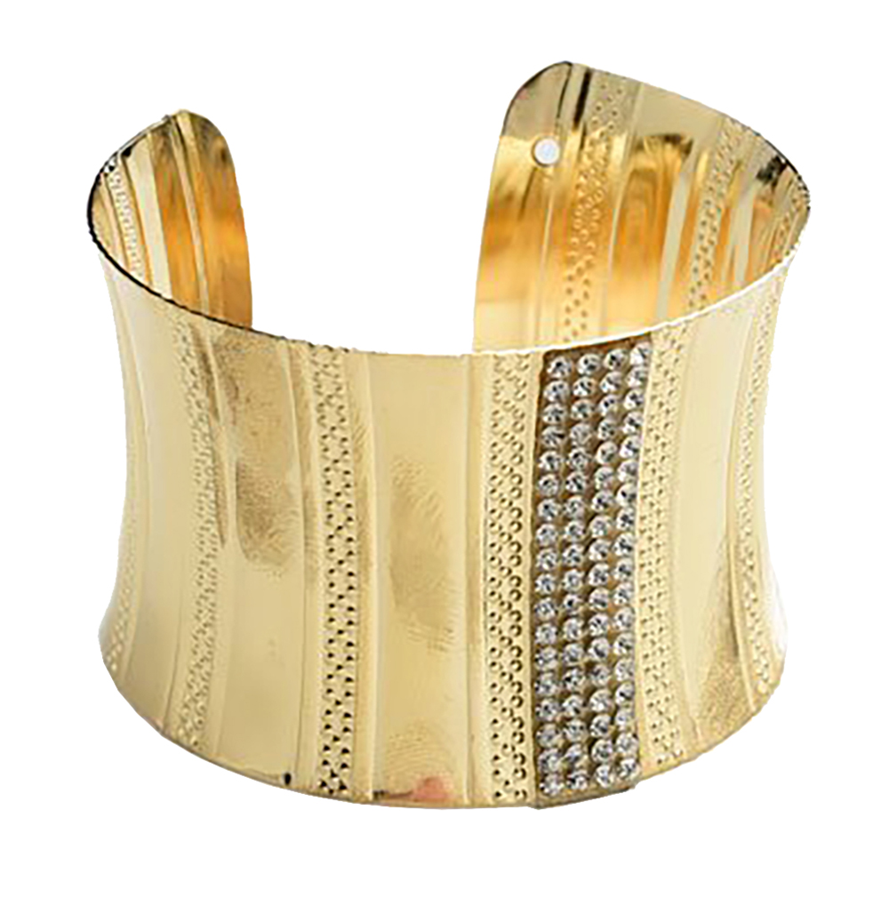 Belle Donne - Womens Multi Stone Layer Cuff Bracelet - Ladies Large Wide Bangle Bracelet - Small Imitation Diamond Studs - Crystal Rhinestone -Gold - Cuff