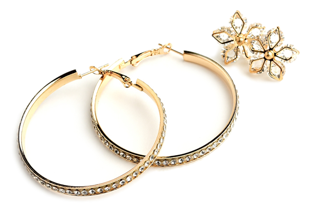 Multi Stone Snowflake Shape & Hoop Earrings