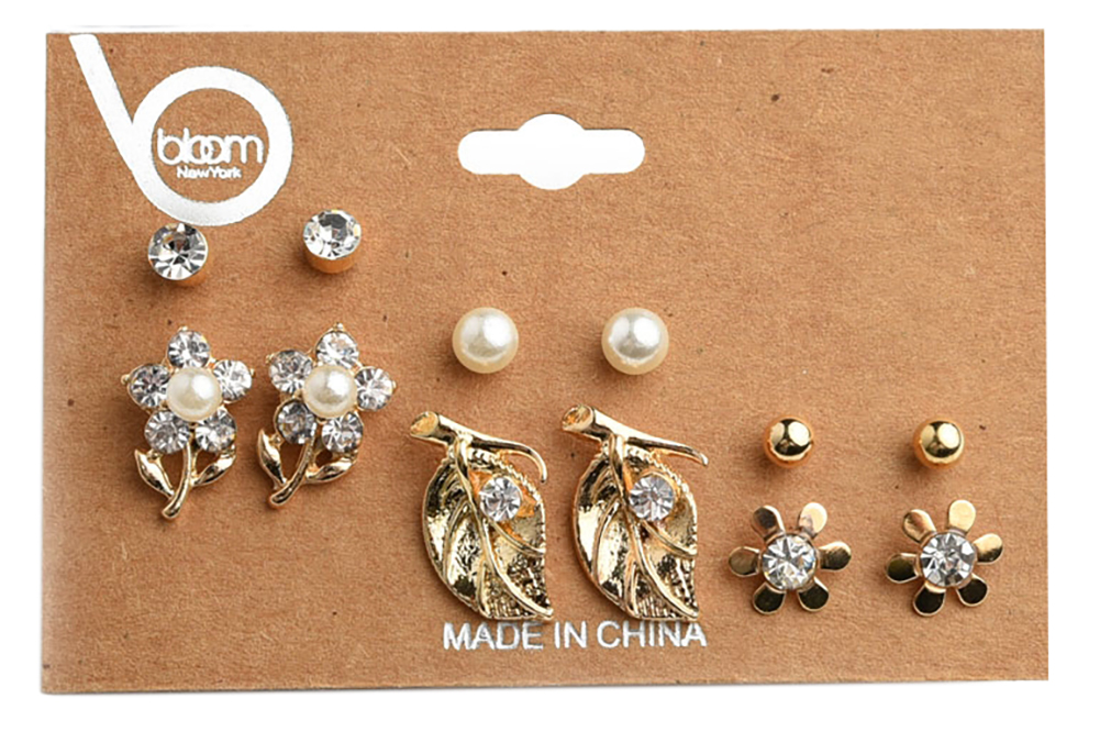 Belle Donne Earring Sets For Girls / Women - Jewelry Sets On Cards - Gold Pearl and Leaves