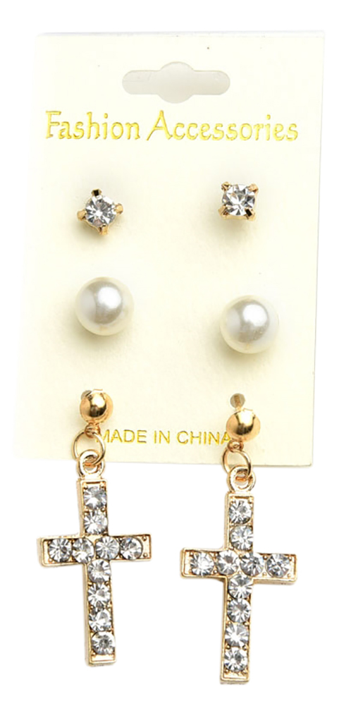 Cross Shape Pearl & Stone Earrings (Set of 3)