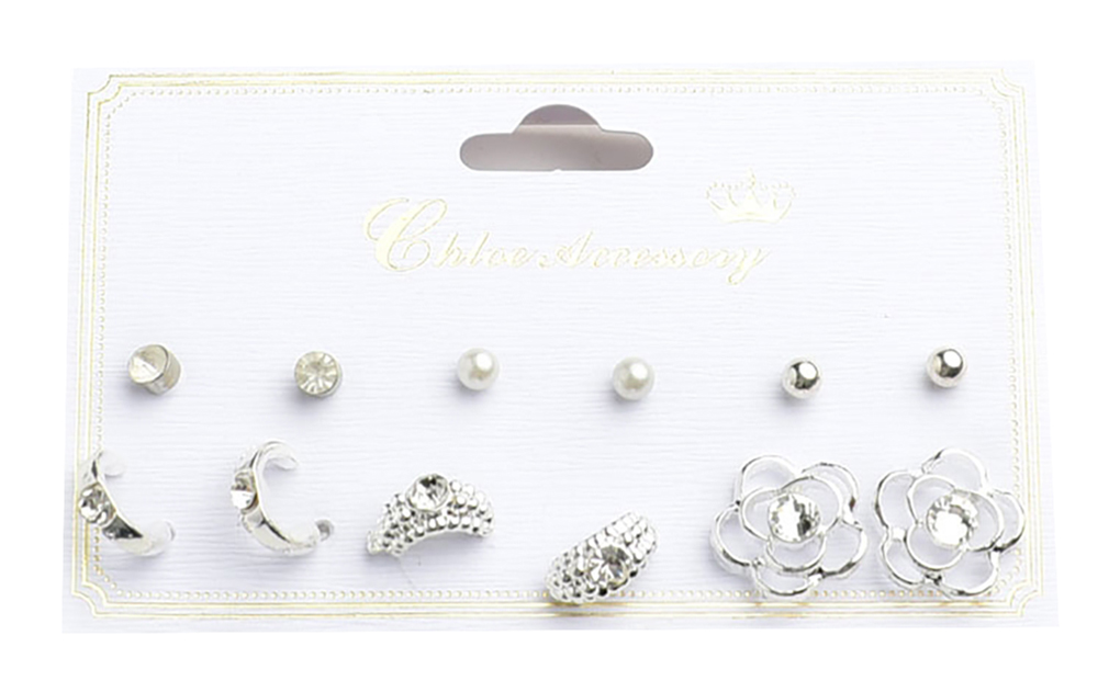 Belle Donne Earring Sets For Girls / Women - Jewelry Sets On Cards - Silver