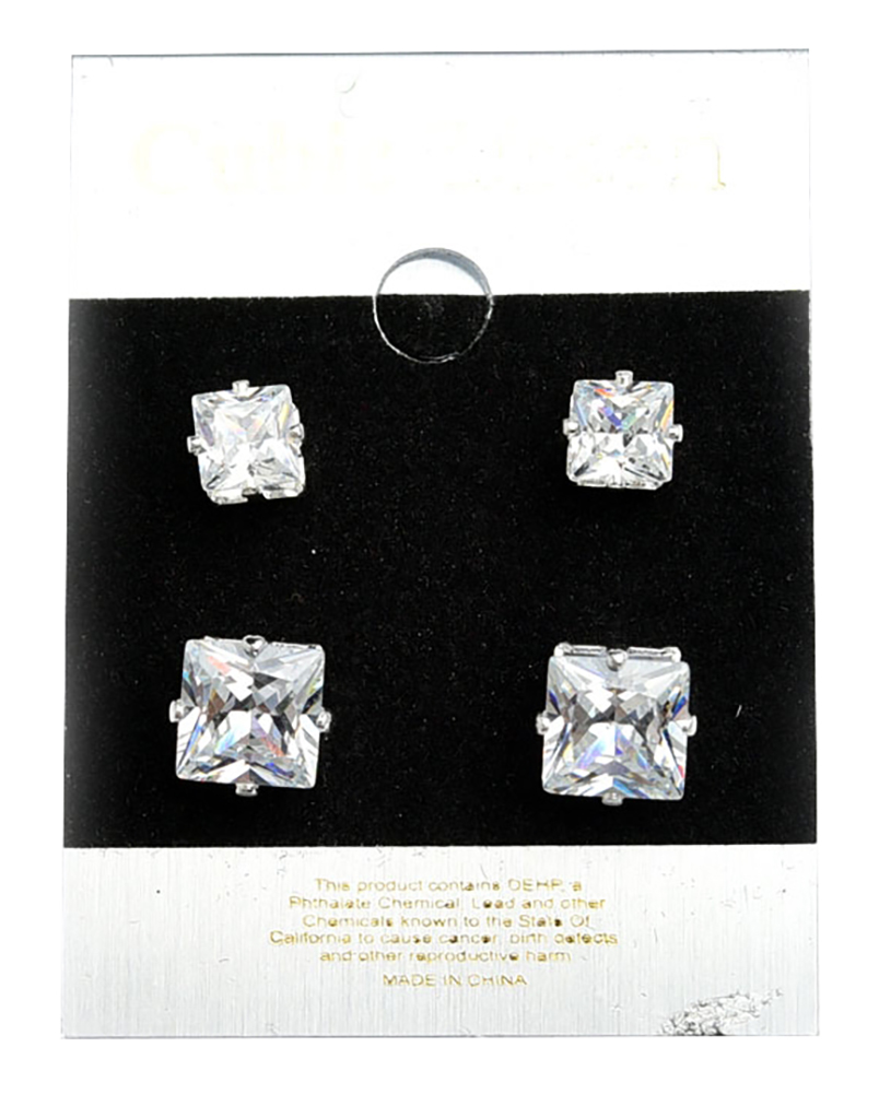Cube Shape Stone Earrings (Set of 2)