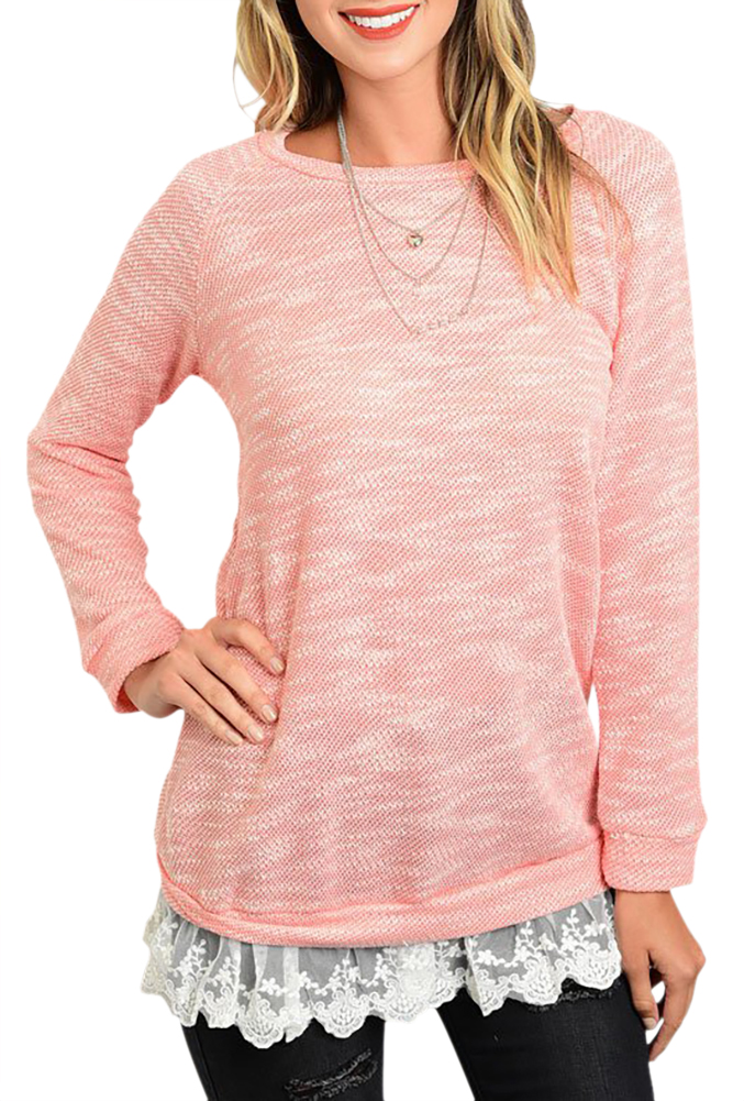 Belle Donne Women Plus Size Tunic Top Loose Jersey Style Casual Blouse - Peach Small