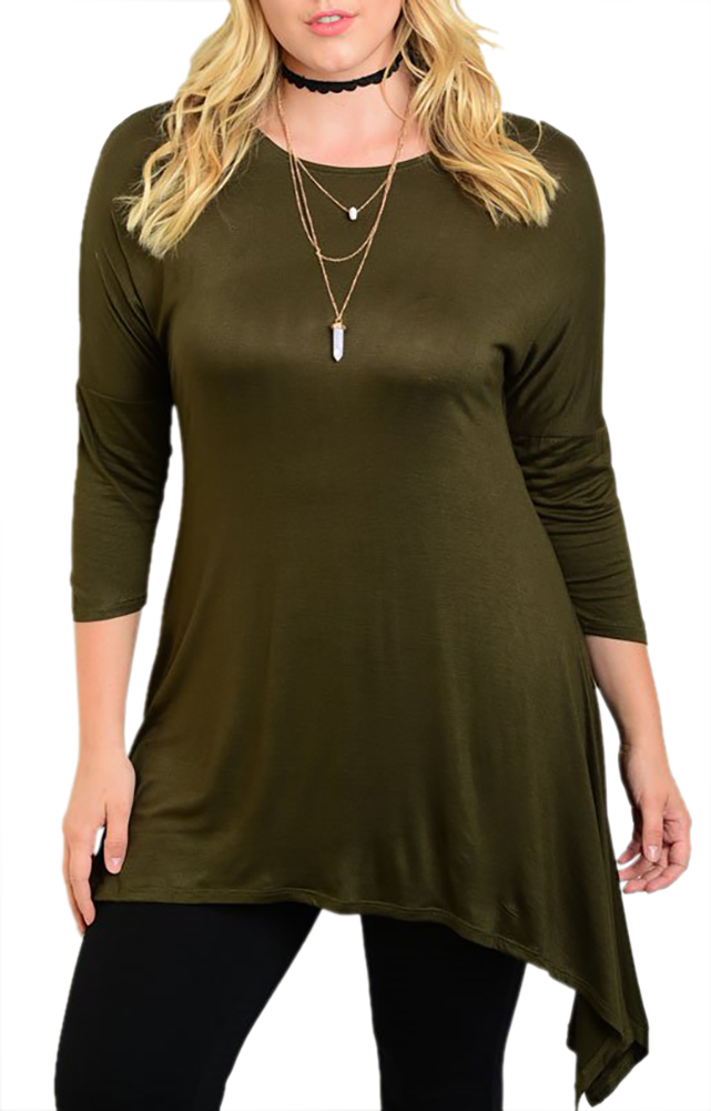 Belle Donne Women Plus Size Tunic Top Loose Jersey Style Casual Blouse - Olive X-Large