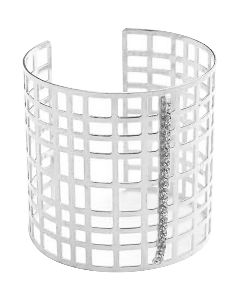 Belle Donne - Womens Multi Layer Silver Wide Cuff Bracelet, Large Wide Bracelet, Sqaure Pattern Style Bracelet for Women - Ladies Fashion Jewelry - Silver - MSCuff