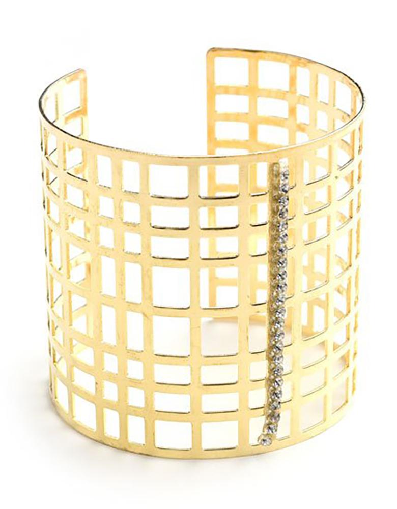 Belle Donne - Womens Multi Layer Silver Wide Cuff Bracelet, Large Wide Bracelet, Sqaure Pattern Style Bracelet for Women - Ladies Fashion Jewelry - Gold - MSCuff