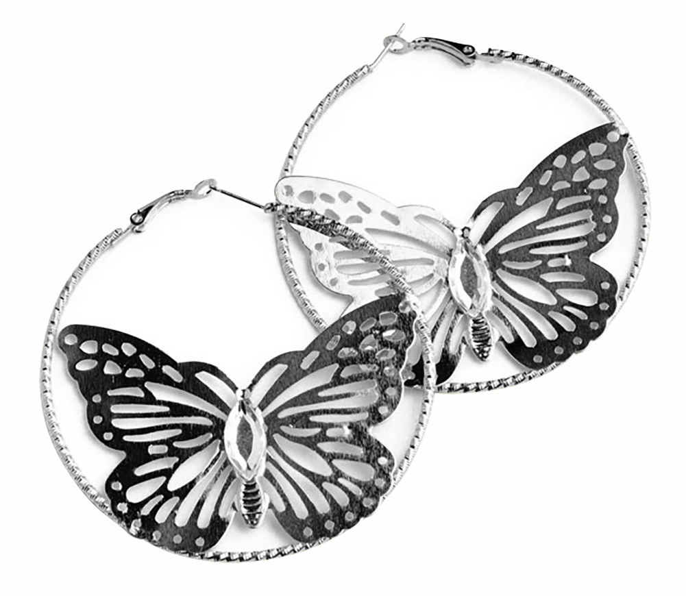 Belle Donne Butterflies Earring Animal Shape  For Girls / Women Ear Ring Jewelry Sets - Silver