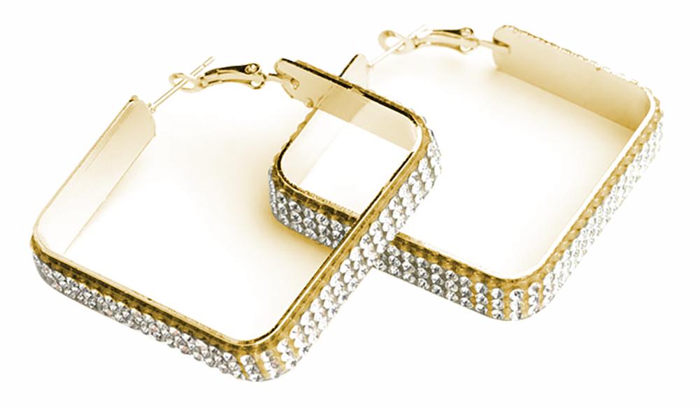 Multi Stone Square Shape Earrings