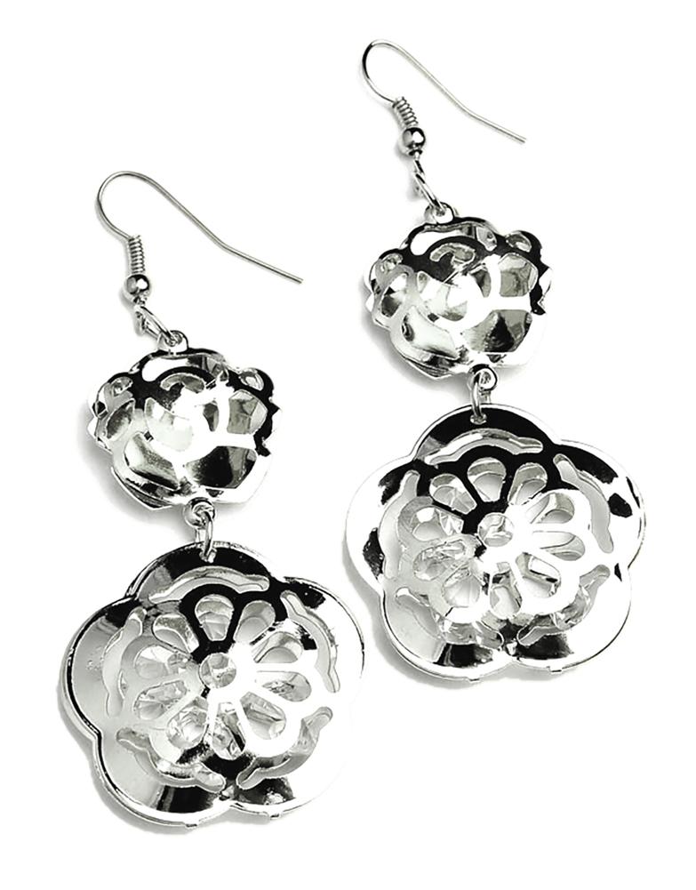 Belle Donne Earring Drop n Dangle For Girls / Women Ear Ring Jewelry Sets - Silver