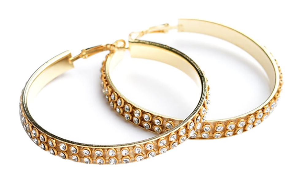 Multi Stone Layer Hoop Earrings