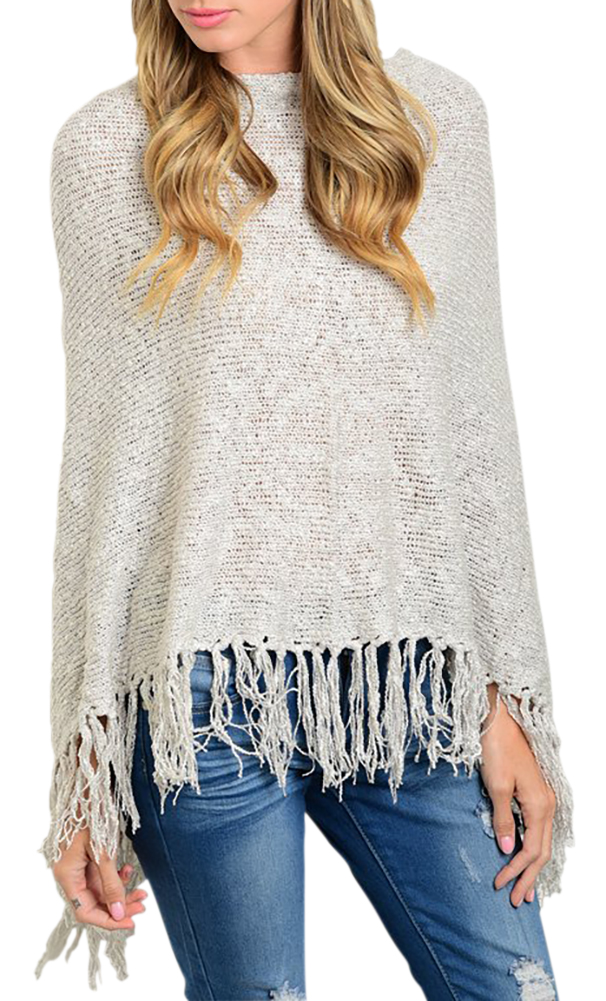 Shawl Style Cardigan Fringes Long Sleeve Knitted Sweater Winter Top - LightGray