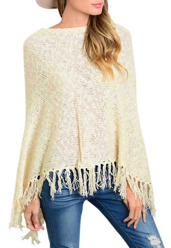 Shawl Style Cardigan Fringes Long Sleeve Knitted Sweater Winter Top - Beige