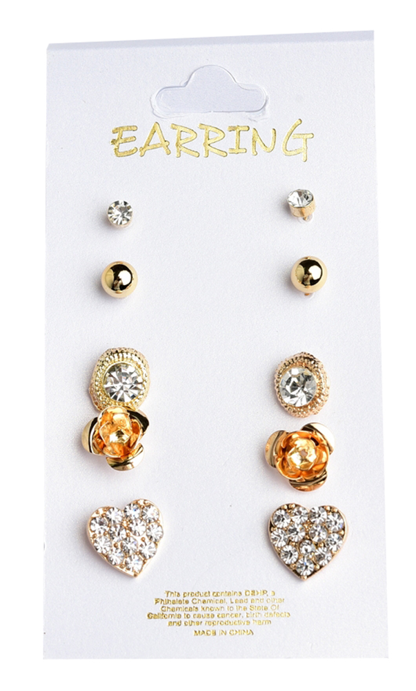 Belle Donne Earring Sets For Girls / Women - Jewelry Sets On Cards - Gold