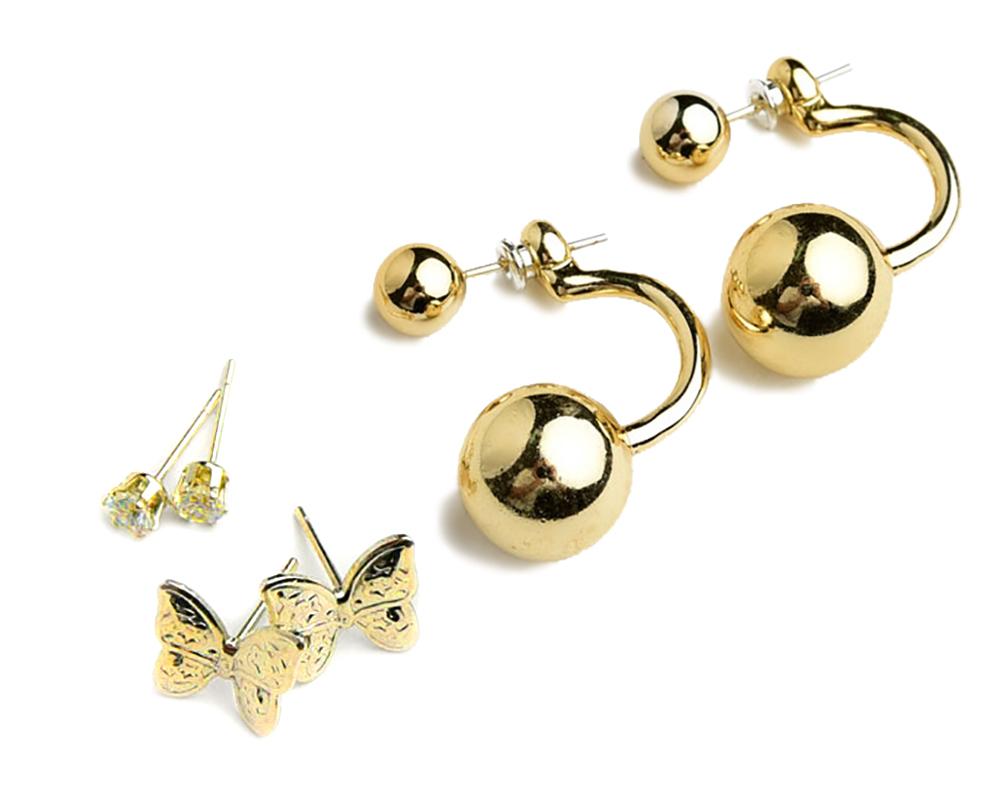 Butterfly Shape Pearl & Stone Earrings (Set of 3)