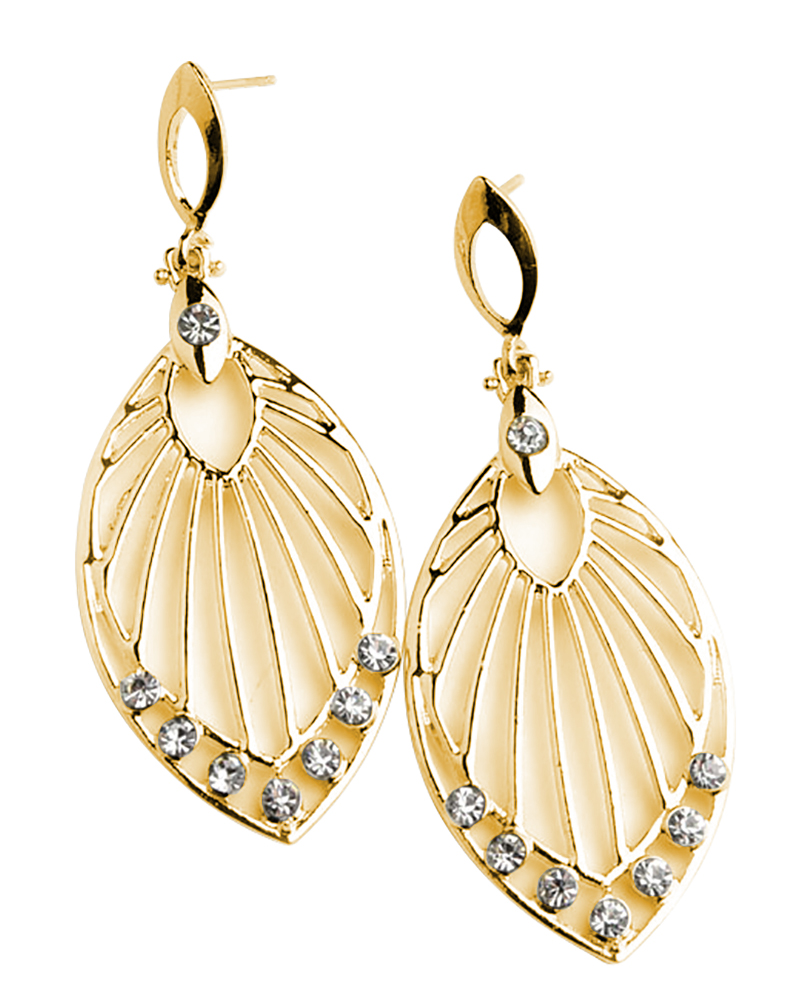 Leaf Shape Multi Stone Earrings