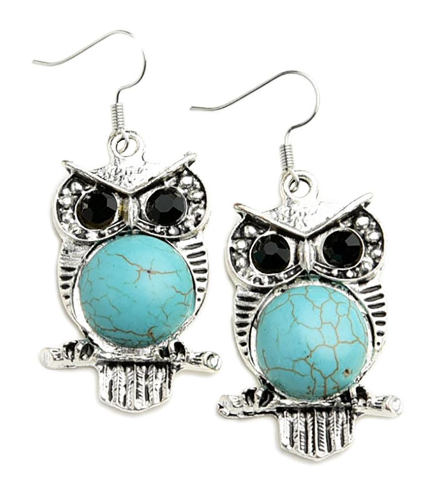 Belle Donne Earring Owl  Shape  For Girls / Women Ear Ring Jewelry Sets - Silver