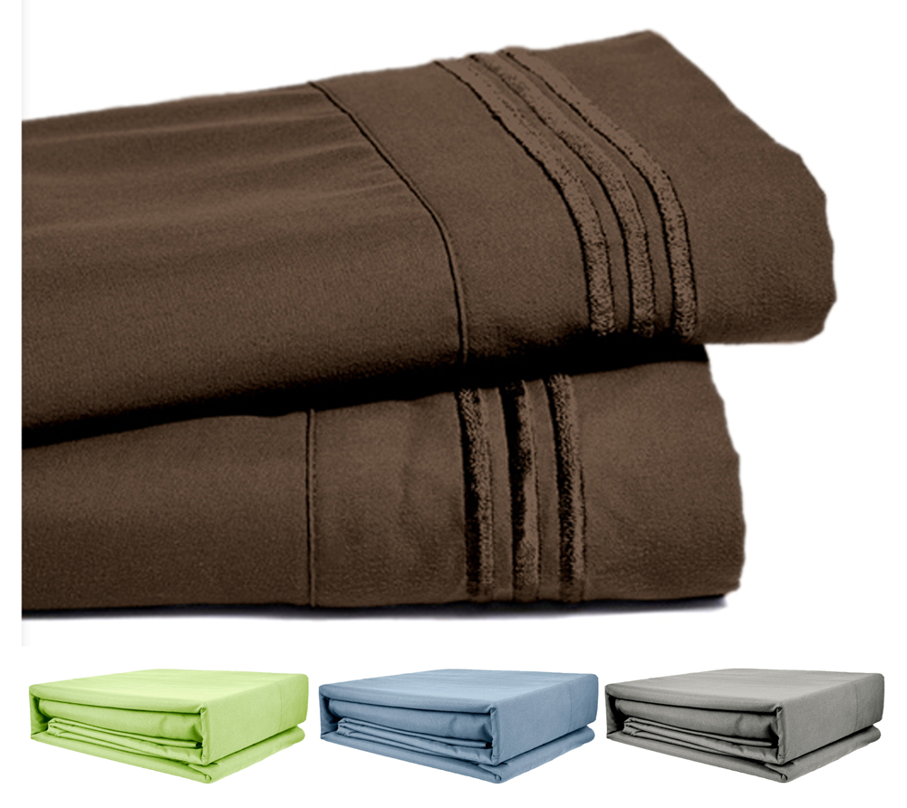 Deep Pocket Bamboo Bed Sheet - Luxury 2200 Embroidered Wrinkle, Fade and Stain Resistant Sheets