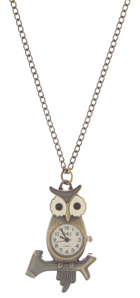 Belle Donne Owl Necklace Watch Bronze Finish Pendant