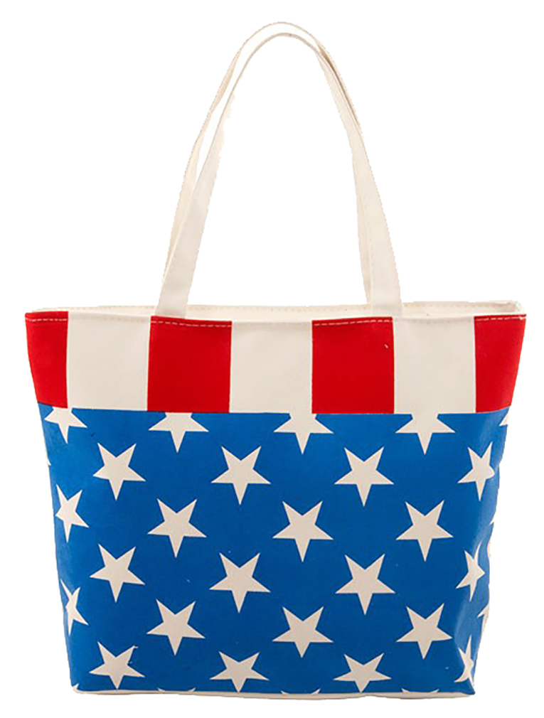 "American Flag Print Canvas Day Tote Zipper on Top - 16""x12.4""x3"""